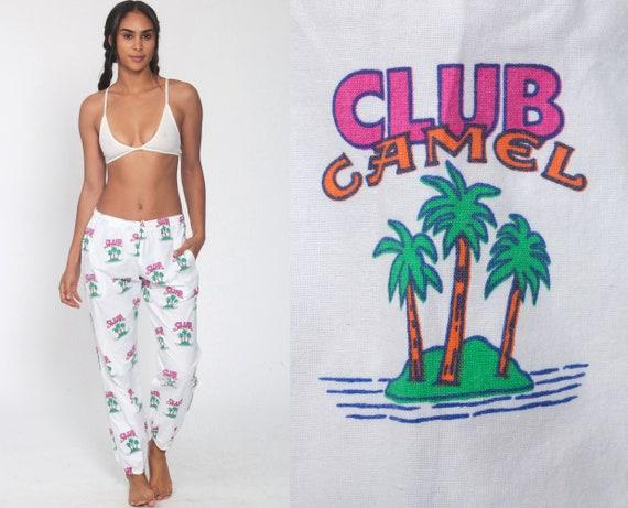 Club Camel Pants 90s Lounge Pants Camel Joe Pants Smoking Tobacco Souvenir Joggers Tobacciana Tropical Palm Tree Vintage Vintage Medium