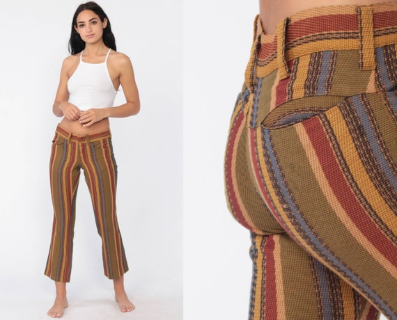 Bell Bottoms Pants 70s Boho Striped Cropped Hippie Low Rise Hiphugger Bellbottom 1970s Vintage Bohemian Trousers Extra Small xs Petite Short