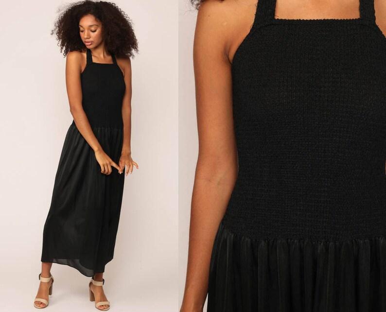 c3077e0696bd Black Nightgown Slip Dress 80s Maxi Boho Lingerie HALTER NECK   Etsy