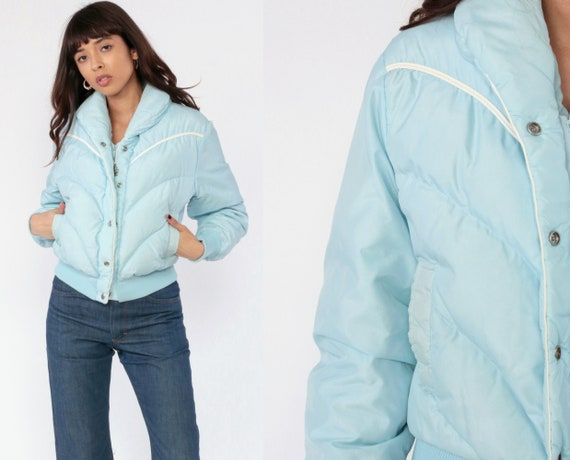 Baby Blue Puffer Jacket Ski Jacket 70s Winter Coat Down Coat Pastel Puffy Coat 80s Vintage Puff Coat Small