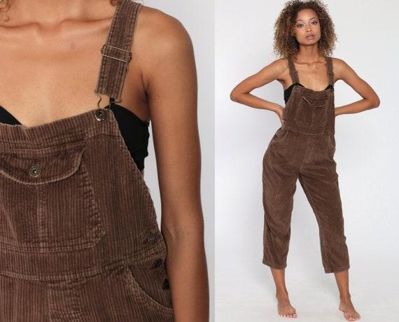 Brown Corduroy Overalls Women 90s Grunge Suspender Pants Baggy Bib Cargo Vintage Dungarees Coveralls Cropped Medium Short