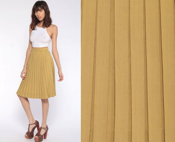 60s Pleated Skirt xs Midi Mustard Yellow 50s High Waisted Hippie Boho Retro Vintage Extra Small xs xxs 24 0