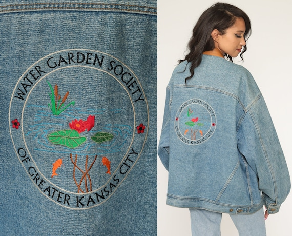 90s Jean Jacket Water Garden Society Blue Denim Jacket Coat Gardening Jacket Kansas City Vintage Extra Large xxl 2xl