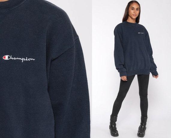 12d7eac50d79 Champion Sweatshirt Navy Crewneck Pullover 90s Streetwear