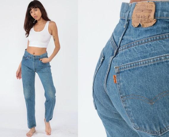 Levis Jeans 80s Jeans Blue Levi Strauss Jeans Mom Jeans Straight Leg Jeans Tapered Leg 1980s Boyfriend Vintage Denim Orange Tab Medium 30