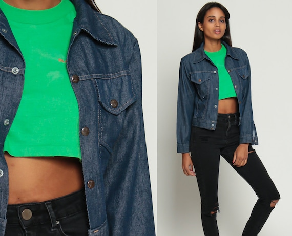 Dark Denim Jacket Vintage 70s Jean Button Up Boho Blue Western 1970s Oversize Hipster Coat Biker Trucker Oversized Extra Small xs