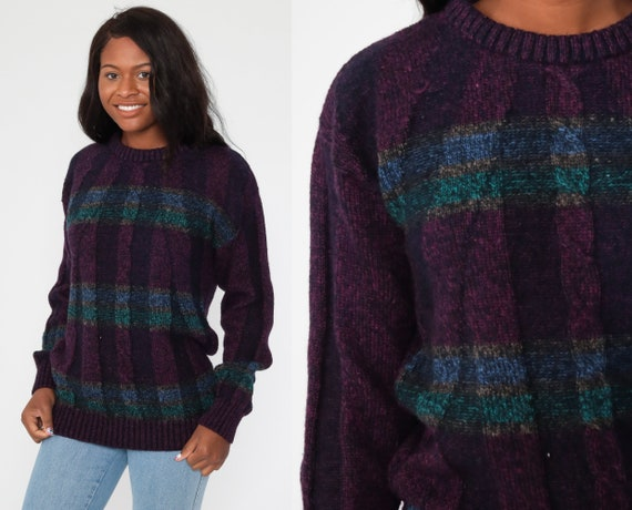 Cable Knit Sweater 80s Purple Slouchy Wool Acrylic Knit Pullover Striped Cableknit Sweater 1980s Jumper Vintage Men's Large Tall