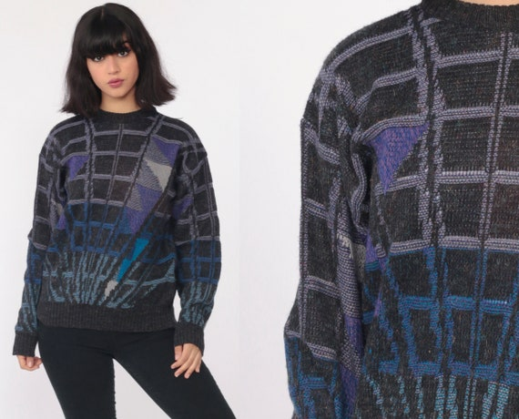 Grunge Sweater 80s GEOMETRIC Print Black Knit Nerd 90s Sweater Grid Print Wool Grey Purple Blue Sweater Grunge Vintage Retro Slouchy Small