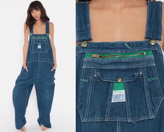Dungarees Bib Overalls Men's Large 80s Denim Pants Baggy LIBERTY Grunge Long Jean Pants 1980s Boyfriend Suspender Hipster Carpenter Large
