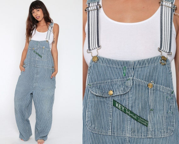 Striped Overalls Denim Pants KEY Grunge 90s Bib Overalls Jean Blue Work Dungarees Wide Leg Pants Vintage 1990s Baggy Men's Extra Large xl