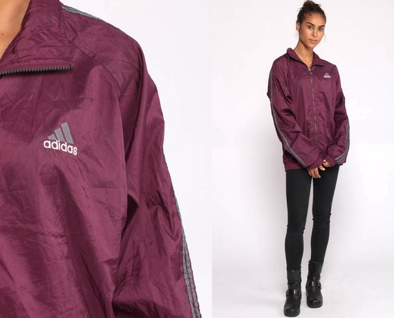 Plum ADIDAS Jacket 90s Windbreaker Jacket Striped Jacket Purple Sportswear Vintage 1990s Track Jacket Warmup Athletic Warm Up Medium Large