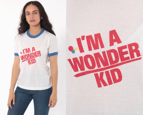 Vintage Wonder Bread Shirt I'M A WONDER KID Ringer Tee Graphic TShirt 80s T Shirt Retro Burnout 1980s Paper Thin Vintage Small