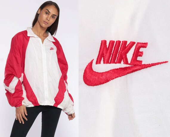 Nike Windbreaker Jacket -- 90s Shell Zip Striped Streetwear 1990s Jacket Colorblock RED White 90s Vintage Retro Sports Extra Large xl