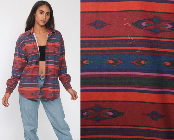 Southwest Shirt Button Up Southwestern Print Blouse 90s Top Button Up Striped Red Western Tribal 1990s Vintage Long Sleeve Medium Large