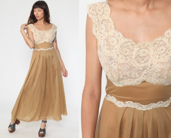 Long Brown Nightgown 70s LINGERIE Nightgown Maxi Slip Dress LACE Boho Vintage Empire Waist Cream Bohemian Small