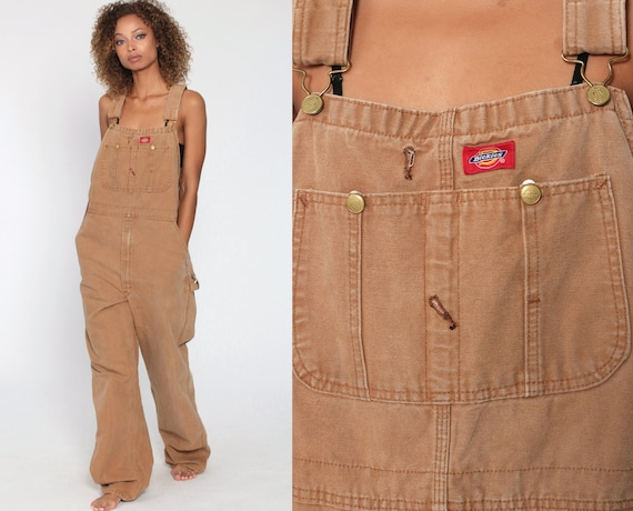 Dickies Overalls Workwear Coveralls Tan Baggy Pants Cargo Work Dungarees Light Brown Workwear Long Wide Leg Jeans Bib Vintage 36 x 34 Small