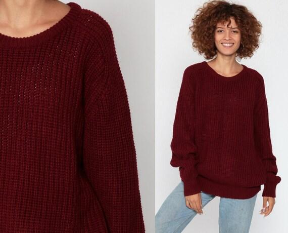 Dark Red Sweater Plain Raglan Sleeve GRUNGE Textured 80s Slouchy Knit Pullover Jumper 90s Vintage Normcore Oversize Medium Large