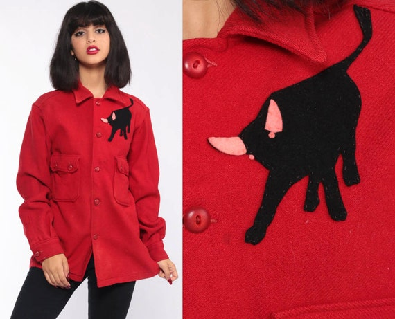 Red Wool Shirt BULL Print 70s Boy Scouts RANCHER Rodeo Shirt Animal Jacket Oversized Button Up Vintage Long Sleeve 1970s Small Medium