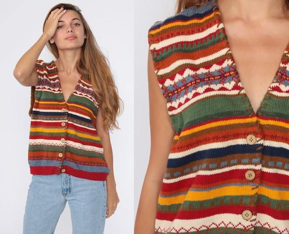 Southwestern Sweater Vest Top 90s Southwest Tank Top Striped Knit Shirt Retro Sleeveless Sweater 1990s Vintage Button Up Extra Large xl l