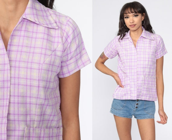 Purple Plaid Shirt 70s Shirt Button Up Lavender Checkered Print Preppy Collared 1970s Top Short Sleeve Vintage Small