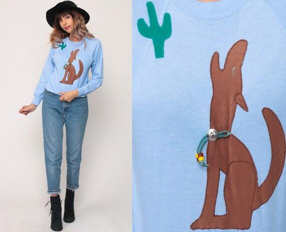 Coyote Sweatshirt Navajo Shirt 80s Sweatshirt Southwest Sweater Cactus Shirt Animal Wildlife Baby Blue Graphic Vintage Small xs