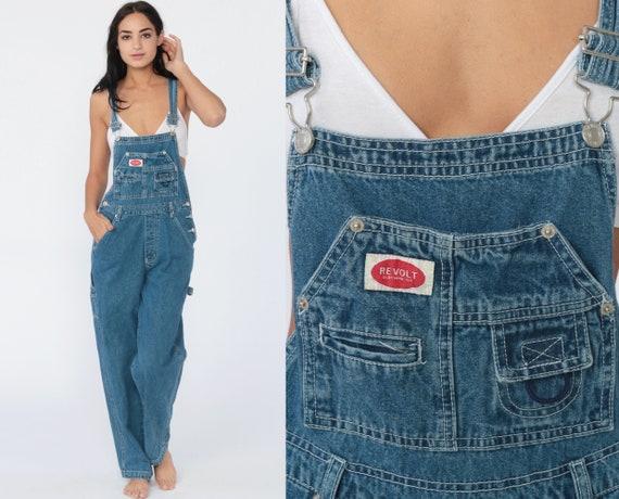 90s Jean Overalls Revolt Denim Blue Bib GRUNGE Pants Baggy Dungarees Long Pants Boyfriend Suspender Vintage Carpenter Women's Small