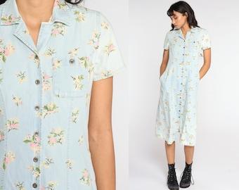 Blue Floral Dress Midi Grunge Button Up Dress White Boho 90s Bohemian Sheath 1990s Short Sleeve Vintage Garden Party Small S