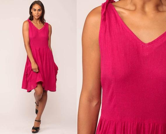 Pink Sundress 70s Midi Dress 80s Boho Tank Dress Sleeveless Vintage Bohemian Sun Retro High Waist Retro Summer Bright Medium Large