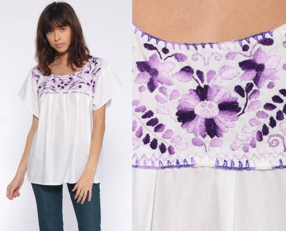 White Mexican Blouse Purple Embroidered Top Peasant Shirt Hippie Boho Cotton Tunic Bohemian Floral Vintage Ethnic Smock Small Medium xs