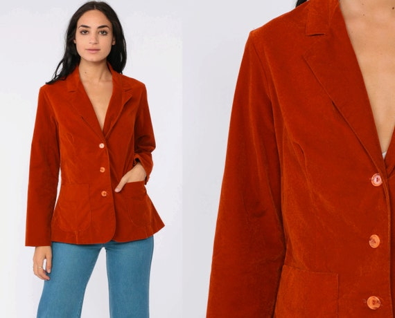 Rust VELVET Blazer Jacket 70s Velvet Jacket Orange Tailored Vintage 80s Collared Vintage Professor Retro Medium