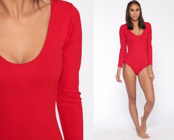 Red Bodysuit Top Long Sleeve Leotard Shirt 80s Boho Top Disco Plain Blouse Vintage 1980s Bohemian Small