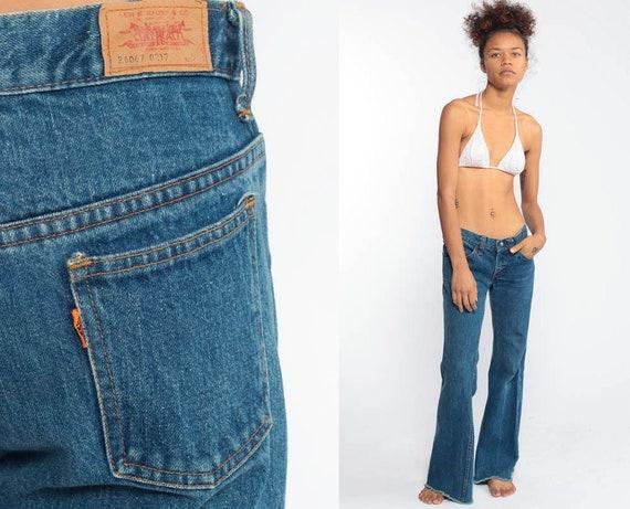 Levis Bell Bottoms Jeans xxs Denim Pants 70s Jeans Orange Tab Flared Blue Low Waist Hippie 1970s Bohemian Vintage Low Rise Extra Small XS 00