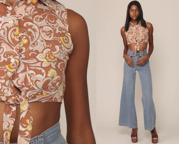 Crop Top Psychedelic Top 70s Hippie Blouse Cropped Shirt Boho Tank Top Bohemian Vintage 1970s Button Up Brown Sleeveless Small
