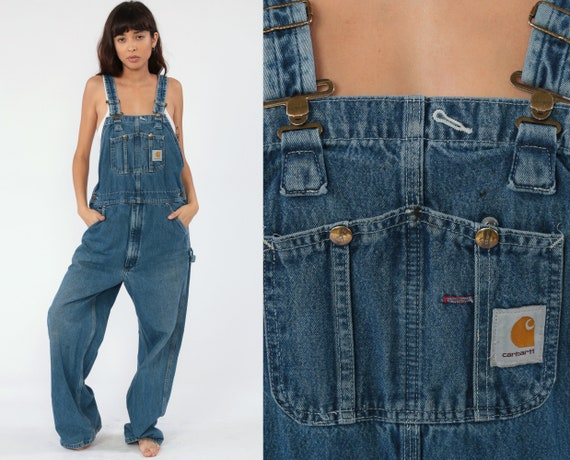 Carhartt Overalls Men's Bib Jean Overalls 90s Denim Pants Dungarees GRUNGE Suspender Blue Pants Vintage 1990s Streetwear Small Medium