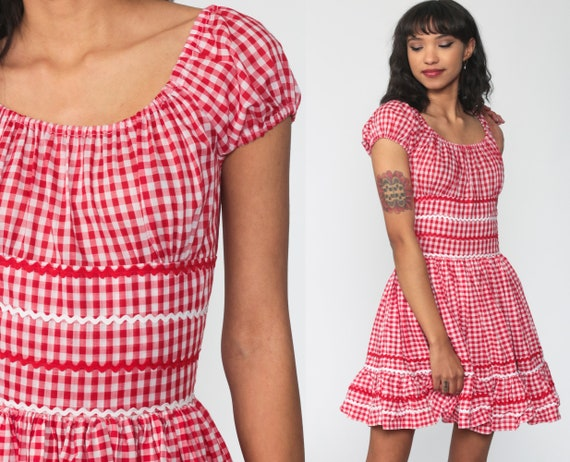 Gingham Peasant Dress Boho Mini Dress 70s Hippie Oktoberfest PUFF Sleeve Folk 1970s Bohemian Red Checkered Vintage Festival Extra Small xs