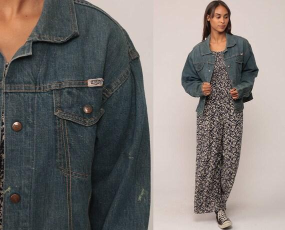 60s Jean Jacket GAUCHOS Denim Jacket Coat Biker 1960s Blue Trucker Jacket Vintage Hipster Oversize Retro Boyfriend Medium