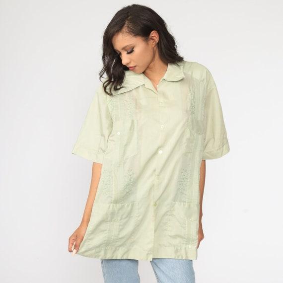 70s Oxford Shirt 2xl EMBROIDERED Shirt Light Green Shirt Cargo Pocket Button Up Shirt Short Sleeve 1970s Vintage Dagger Collar Men/'s xxl