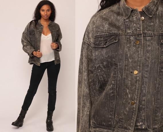 Denim Jacket Grey Jean Jacket ACID Wash Trucker Gray Grunge Biker Vintage Button Up 1980s Hipster Collared Retro Extra Large xl