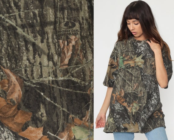 Hunting Camo T Shirt Army TShirt Camouflage Shirt 80s Realtree Hunting Military Tee Green Grunge Retro Tee Vintage Extra Large xl