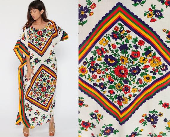 Kimono Dress Caftan Maxi 70s Boho Long Floral Print PSYCHEDELIC 1970s Hippie Bohemian Vintage Kaftan White Small Medium Large xl