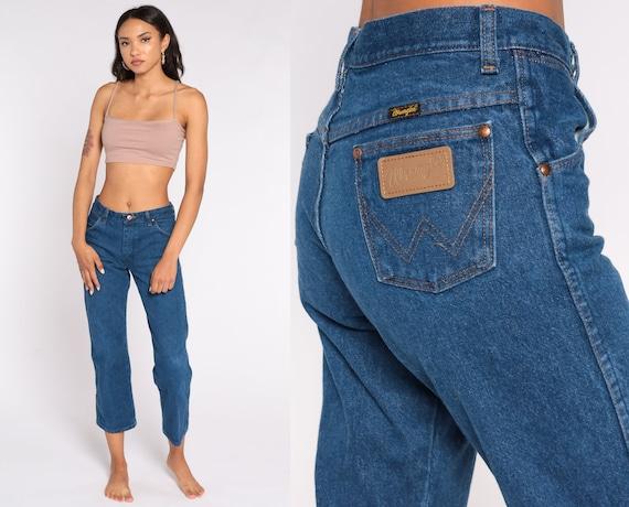 WRANGLER Jeans 80s Jeans Straight Leg Jeans Mid Rise Hippie Denim Pants Blue 1980s Vintage Small Short