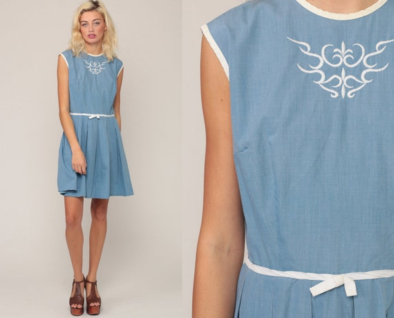 60s Day Dress Chambray 1960s Dress Mini COTTON Pleated Mod Dress EMBROIDERED Dress Vintage Blue High Waist Mad Men Large