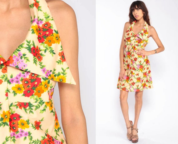 Floral Mini Dress Bohemian 70s Hippie Halter Neck Deep V Neck Empire Vintage Sundress Backless Sun Boho Summer Print Small