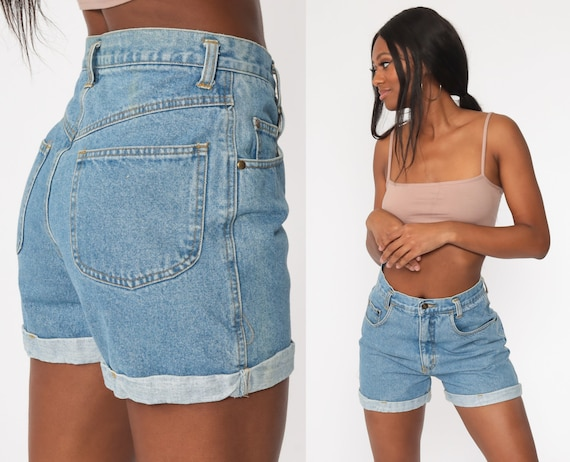 90s Jean Shorts 27 -- Cuffed Denim Shorts Mom Shorts Blue Baggy 90s Shorts High Waisted 1990s Vintage Small