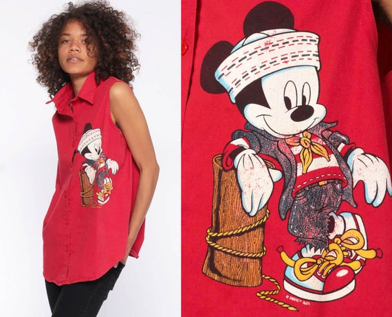 Mickey Mouse Sailor Shirt 90s Button Up 1990s Disney Nautical Muscle Shirt Collared Button Up Top Red Streetwear Marine Medium
