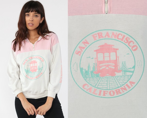 San Francisco Shirt Pastel Pink California Trolley Shirt Half Zip Sweatshirt 80s Pullover Sweater 1980s Color Block Vintage Retro Small