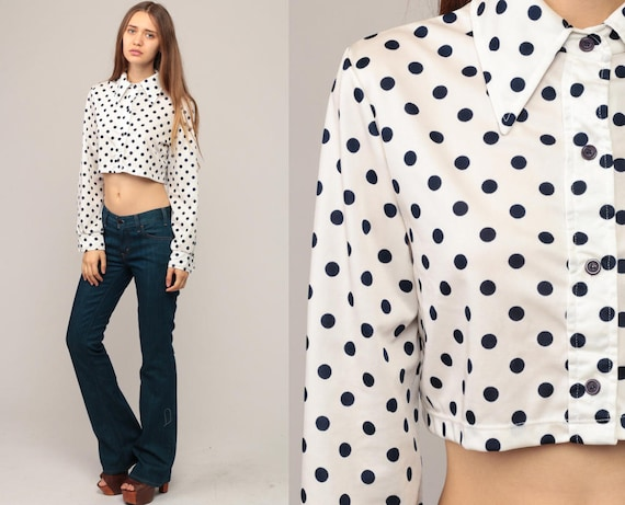 Polka Dot Shirt Crop Top Cropped Blouse 70s Bohemian Button Up White Blue Disco Top Boho Hippie 1970s Hippie Long Sleeve Small Medium
