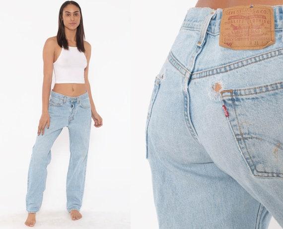 90s Levis Jeans 30 x 31 -- Mom Jeans Levi's 550 High Waist Jeans 90s Jeans Light Blue Jeans Levi DISTRESSED 80s Denim Pants Vintage Medium