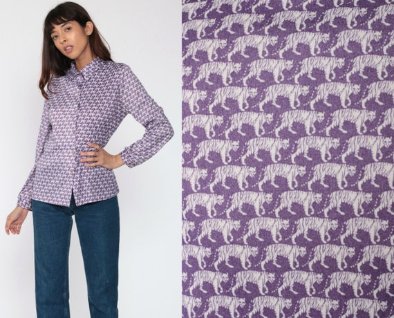 Jungle Animal Shirt 70s TIGER Blouse Button Up Op Art Purple Shirt Disco Top Novelty Print Hippie Boho Vintage Long Sleeve Medium