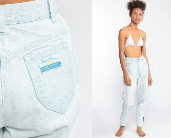 90s Mom Jeans 23 -- Sunset Blue Jeans ANKLE ZIP Tapered Jeans High Waist Jeans 80s Light Wash Pants 1990s Vintage Retro Vtg Extra Small XXS